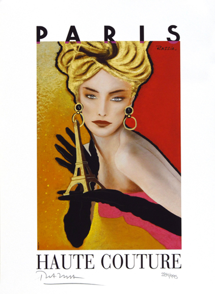 Haute Coutre Vintage Fashion Advertising Poster by Razzia
