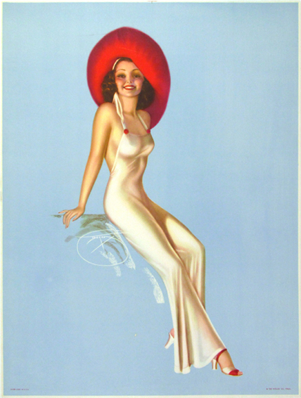 Pin Up Blue (No Text) Vintage Fashion Poster by William Devorss