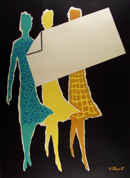 Three Women Stock Image Vintage Fashion Advertising Poster by Bernard Villemot