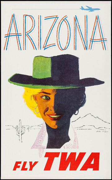 Fly TWA Arizona Airline Travel Poster by Austin Briggs