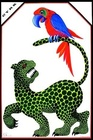 Jaguar with parrot on tail