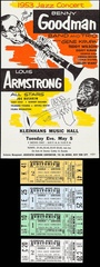 Benny Goodman & Louis Armstrong at Kleinhans Music Hall Handbill and Concert Tickets