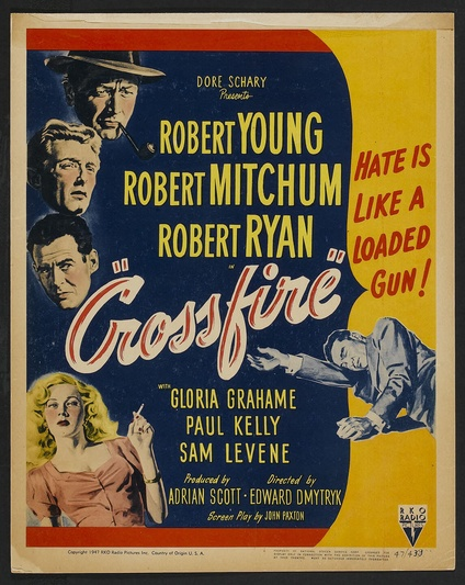 Classic Movie Poster CROSSFIRE MOVIE POSTER Robert Mitchum Movie Poster