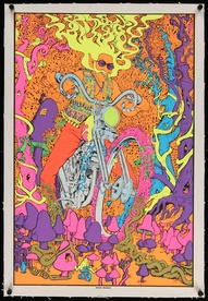 Acid Rider Psychedelic Commercial Black Light Poster