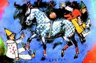 Clowns falling off horse