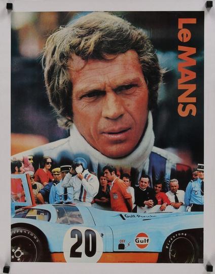 """/""""Le Mans/"""" Steve McQueen /& Elga Andersen Vintage Film Poster 1971"""