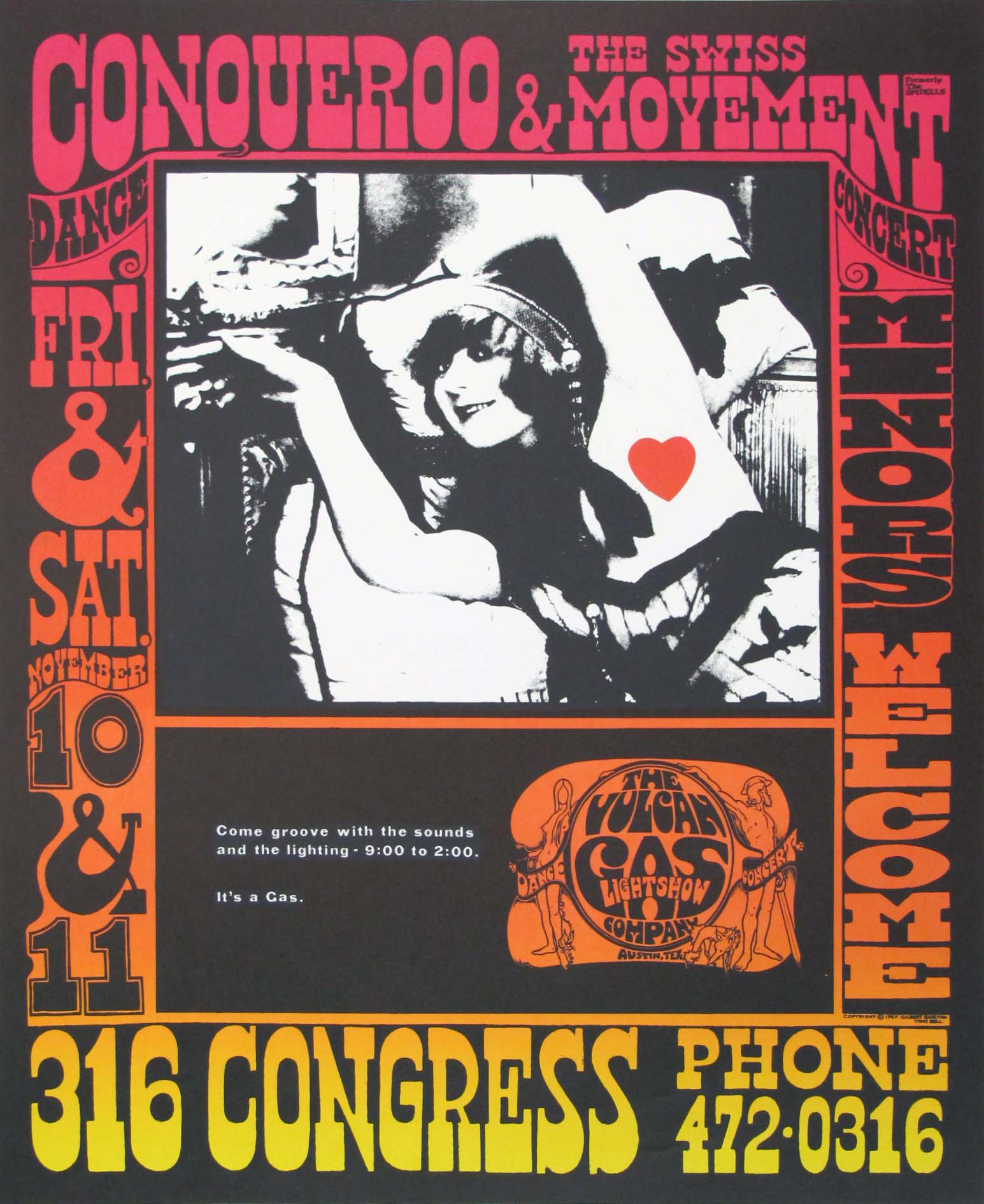 Conqueroo & The Swiss Movement Original Texas Concert Poster