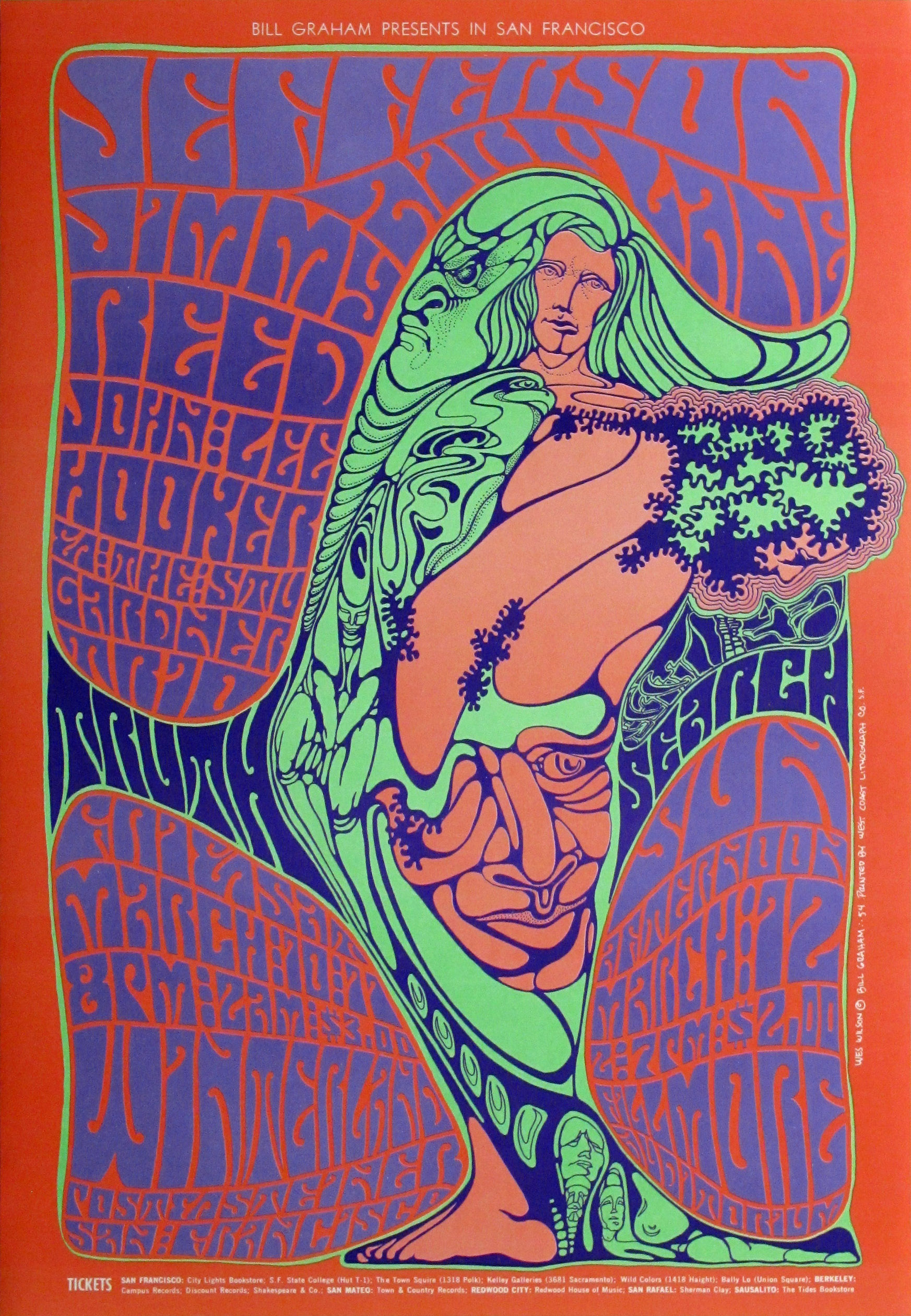 Jefferson Airplane and Jimmy Reed Concert Poster