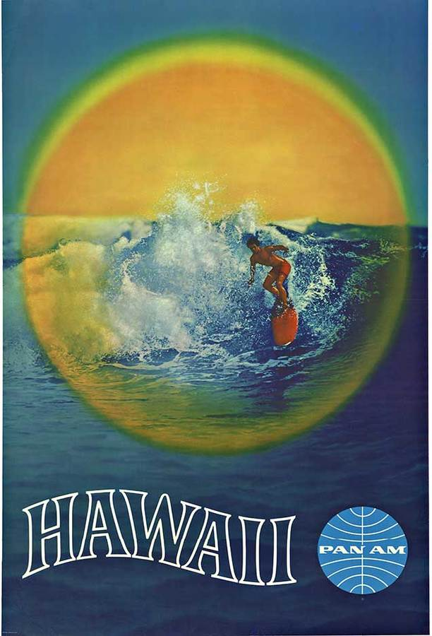 PAN AM HAWAII Surfing Poster