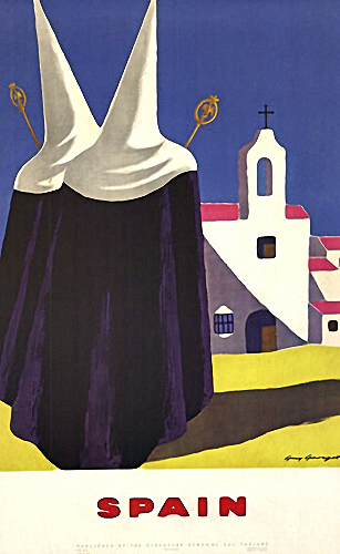 Spain travel posters with nuns